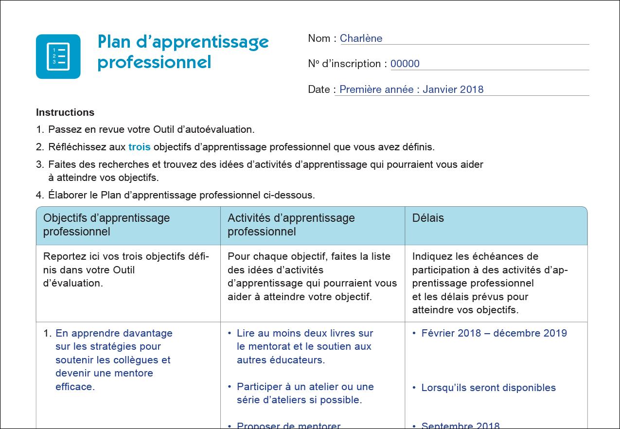 Plan dapprentissage professionel doc