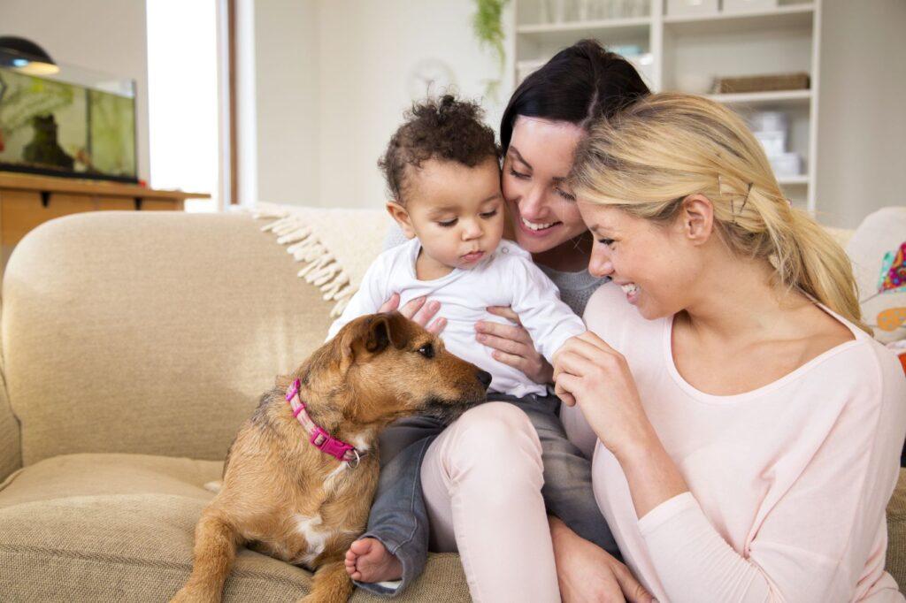 Les parents, leur tout-petit et leur chien sont assis sur le canapé
