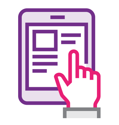 An illustrated hand touching a tablet screen