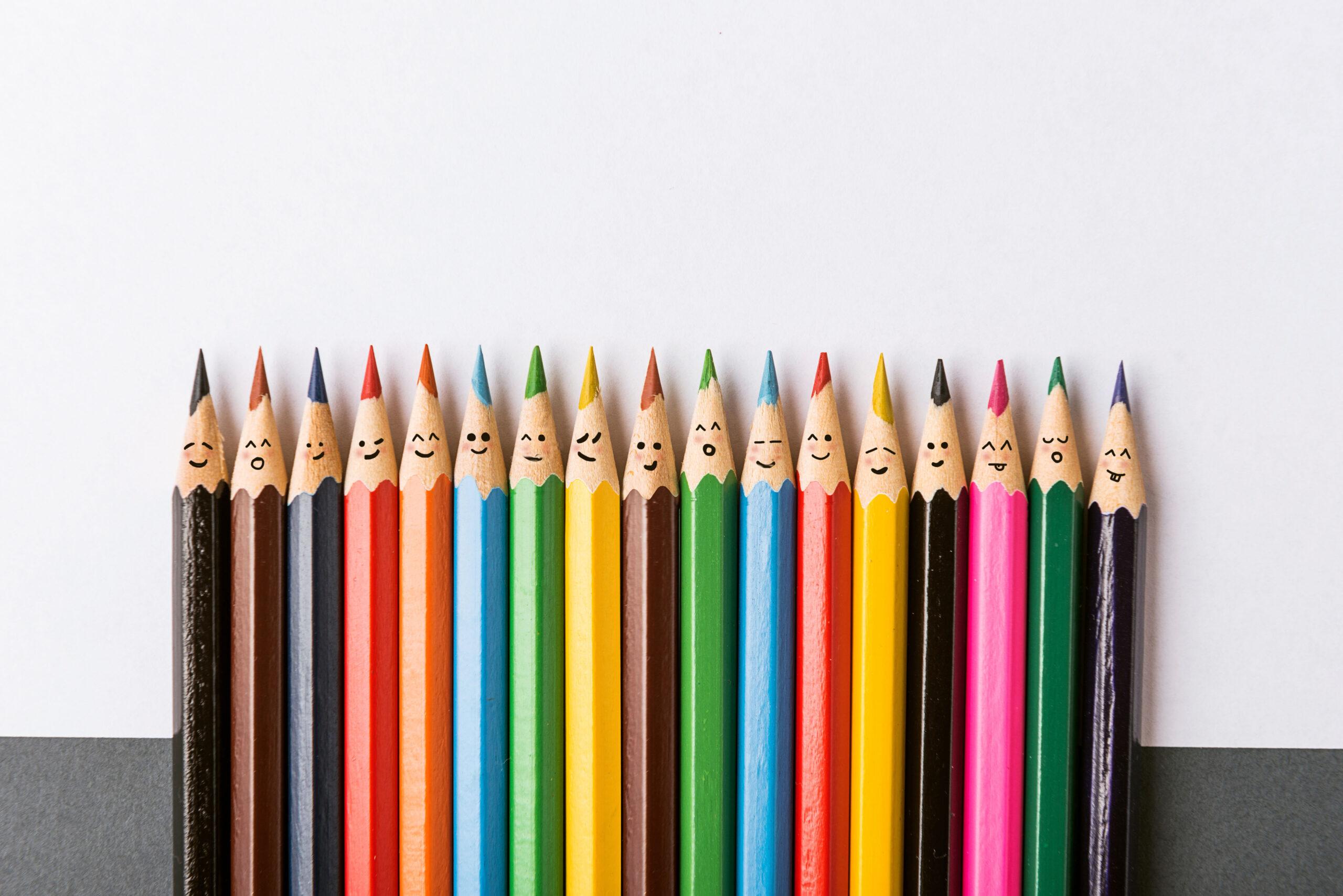 Smiling pencil crayons